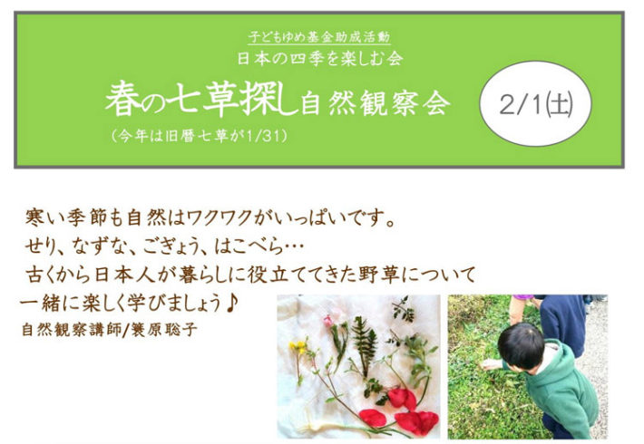 春の七草探し自然観察会〜日本の四季を楽しむ会